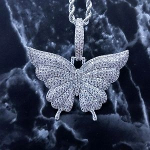 """18"""" Rope Chain + Silver Finish Butterfly Pendant"""